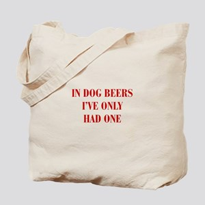 IN-DOG-BEERS-BOD-RED Tote Bag