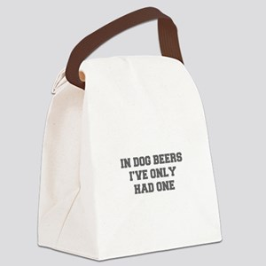 IN-DOG-BEERS-FRESH-GRAY Canvas Lunch Bag