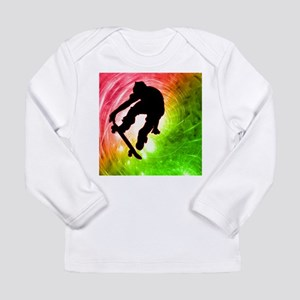 Skateboarder in a Psychedelic Long Sleeve T-Shirt