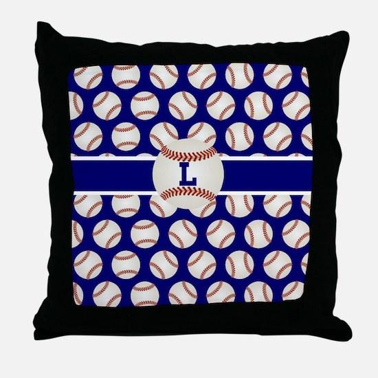 Baseball Blue Monogram Throw Pillow