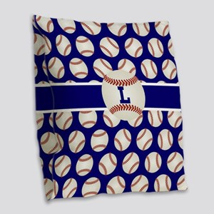 Baseball Blue Monogram Burlap Throw Pillow