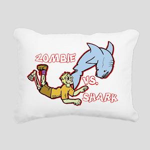 Zombie Vs. Shark Rectangular Canvas Pillow