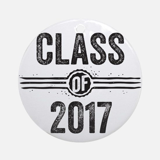 Stamp Class of 2017 Black Ornament (Round)