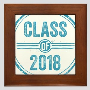 Stamp Class of 2018 Blue Framed Tile