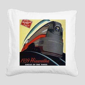 Hiawatha_Milwaukee_Road_Adver Square Canvas Pillow