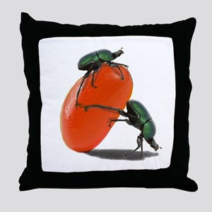 dung beetle and Jelly bean Throw Pillow