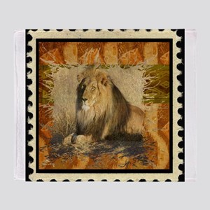 Lion Stamp Throw Blanket