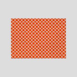 Quatrefoil Orange and WhitePattern 5'x7'Area Rug