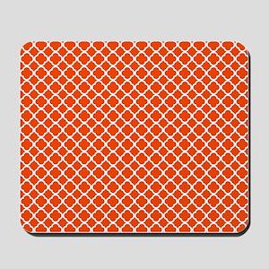 Quatrefoil Orange and WhitePattern Mousepad