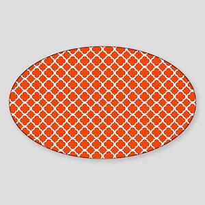 Quatrefoil Orange and WhitePattern Sticker (Oval)