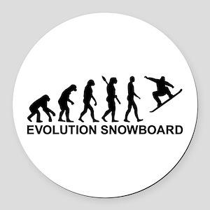 Evolution Snowboarding Snowboard Round Car Magnet