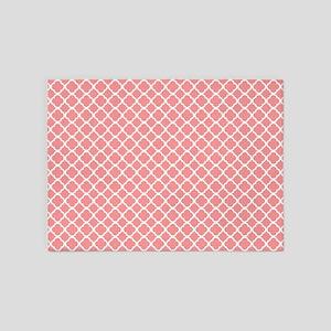Coral Quatrefoil Tiles Pattern 5'x7'Area Rug