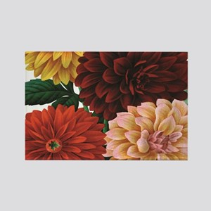modern vintage fall dahlia flowers Magnets