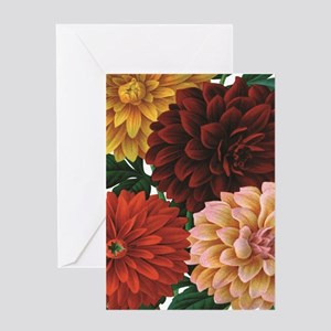 modern vintage fall dahlia flowers Greeting Cards