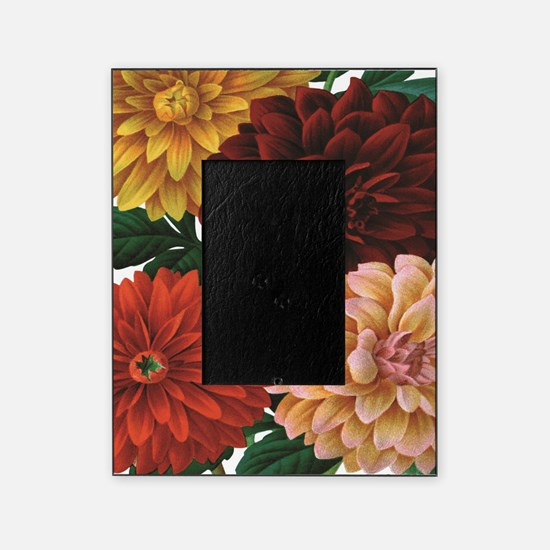 modern vintage fall dahlia flowers Picture Frame