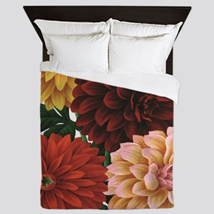 modern vintage fall dahlia flowers Queen Duvet