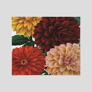 modern vintage fall dahlia flowers Throw Blanket