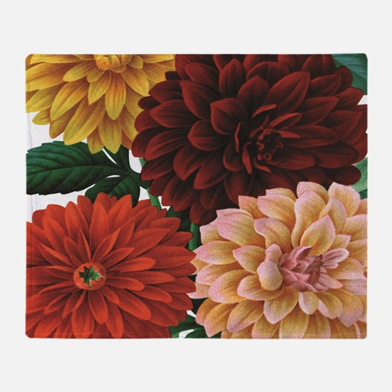 modern vintage fall dahlia flowers Throw Blanket
