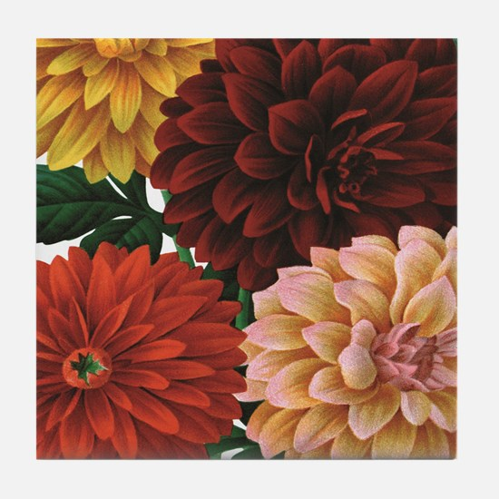 modern vintage fall dahlia flowers Tile Coaster