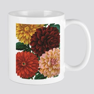 modern vintage fall dahlia flowers Mugs