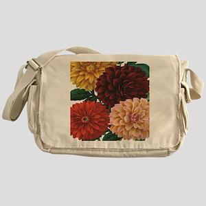 modern vintage fall dahlia flowers Messenger Bag