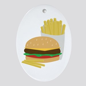 Burger and Fries Ornament (Oval)