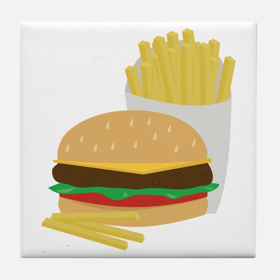 Burger and Fries Tile Coaster