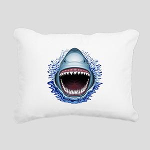 Shark Jaws Attack Rectangular Canvas Pillow