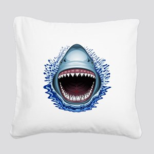 Shark Jaws Attack Square Canvas Pillow