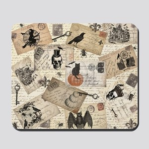 modern vintage Halloween postcard collage Mousepad