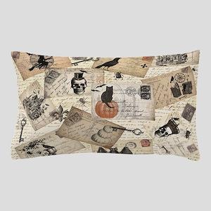 modern vintage Halloween postcard collage Pillow C
