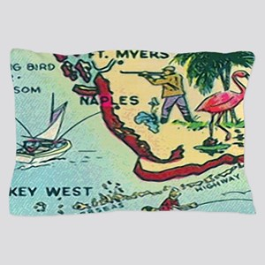 Vintage Florida Greetings Map Pillow Case