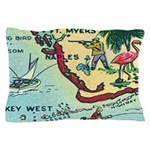 Vintage Florida Greetings Map Pillow Case