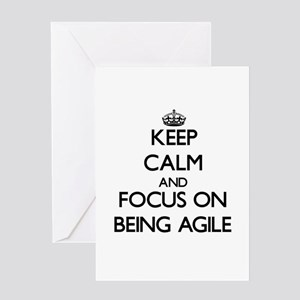 Keep Calm and focus on Being Agile Greeting Cards
