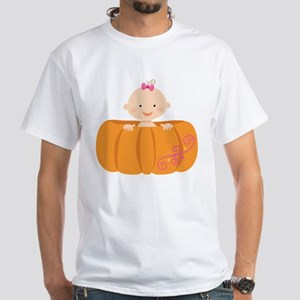 Baby Girl In Pumpkin Shell Halloween T-Shirt