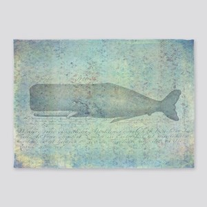 Vintage Whale Illustration 5'x7'area Rug