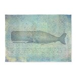 Vintage Whale Illustration 5'x7'area Rug