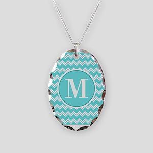 Turquoise Chevron Zigzag Pattern with Monogram Nec