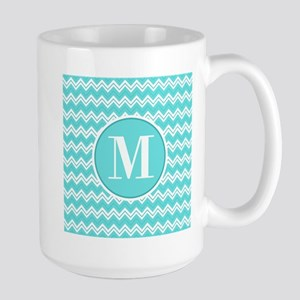 Turquoise Chevron Zigzag Pattern with Monogram Mug