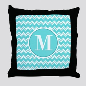 Turquoise Chevron Zigzag Pattern with Monogram Thr