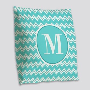 Turquoise Chevron Zigzag Pattern with Monogram Bur