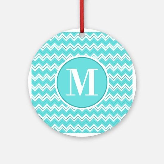 Turquoise Chevron Zigzag Pattern with Monogram Orn