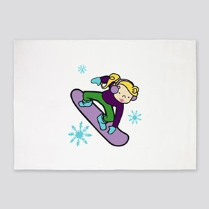 Girl Snowboarder 5'x7'Area Rug