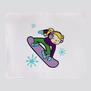 Girl Snowboarder Throw Blanket