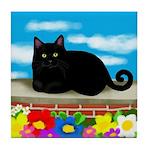BLACK CAT CLOUDS FLOWERS Tile Coaster