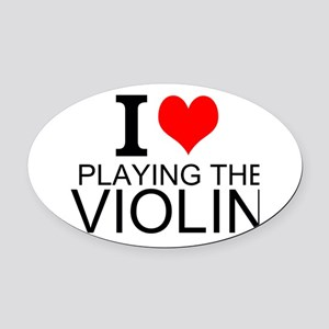 I Love Playing The Violin Oval Car Magnet