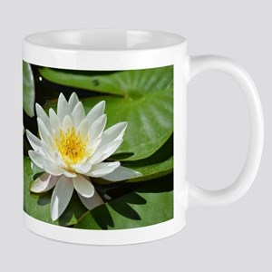 White Lotus Flower Mugs