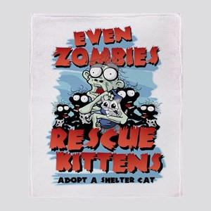 Even Zombies Rescue Kittens Throw Blanket