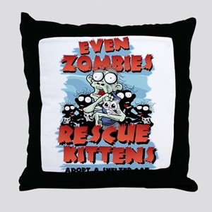 Even Zombies Rescue Kittens Throw Pillow