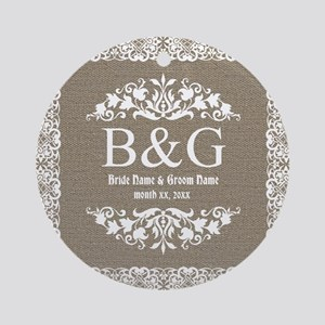 Personalize Bride And Groom Monogrammed Gift Ornam